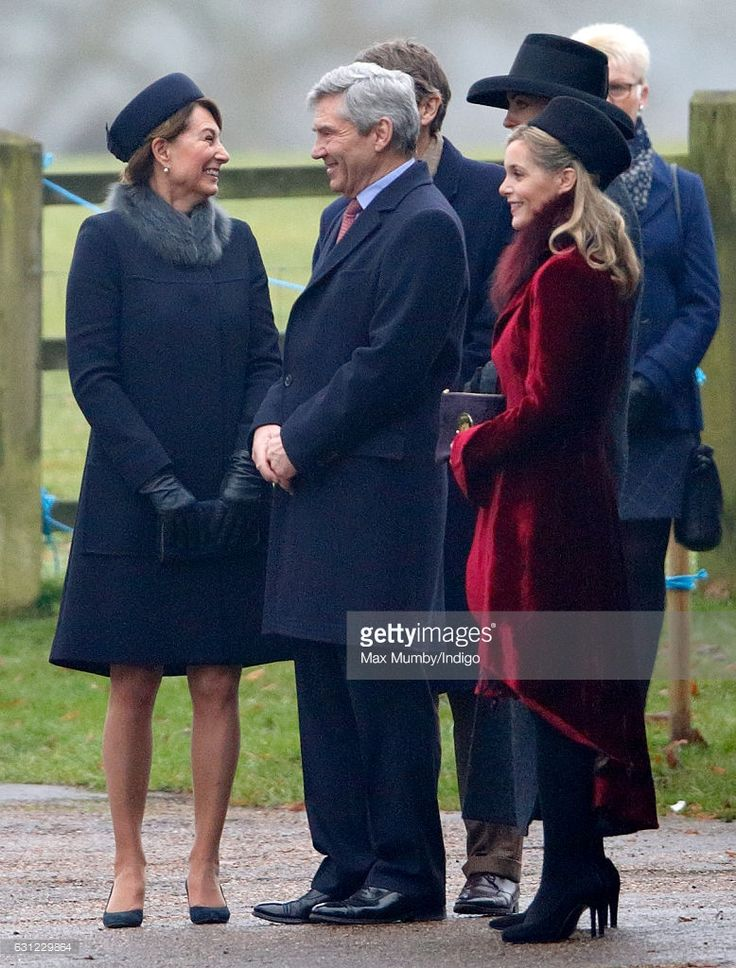 Carole Middleton, Michael Middleton and Sophie Carter (r) attend the Sunday service at St Mary Magdalene Church, Sandringham on January 8, 2017 in King's Lynn, England.