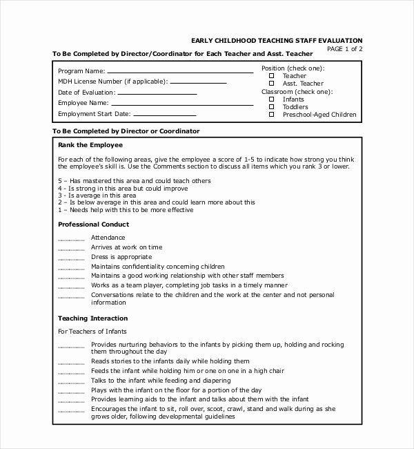 Preschool Teachers Evaluation Forms New Free 18 Sample Teacher Evaluation Forms Teacher Evaluation Evaluation Form Performance Evaluation