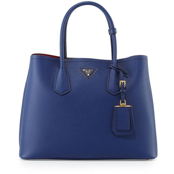 Prada Saffiano Cuir Double Medium Tote Bag (320735 RSD) ❤ liked on Polyvore featuring bags, handbags, tote bags, blue tote bag, prada, handbags totes, tote handbags and tote bag purse