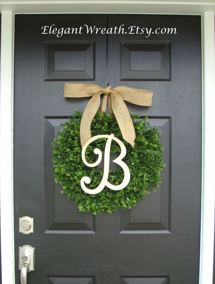 Faux Boxwood Wreath, Monogram Spring Wreath, Outdoor Door Hanging, Fall Wreaths, Spring Decor, Boxwood with Burlap Bow by ElegantWreath on Etsy https://www.etsy.com/listing/108331267/faux-boxwood-wreath-monogram-spring