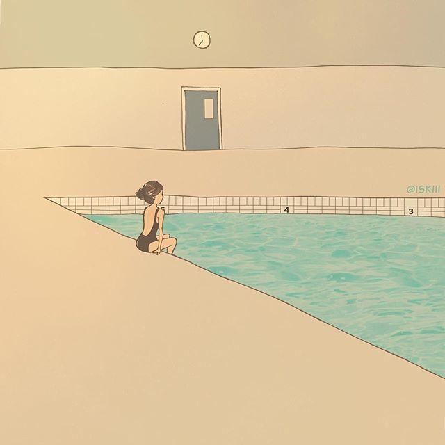 indoor pool ❑ art by @ISKIII