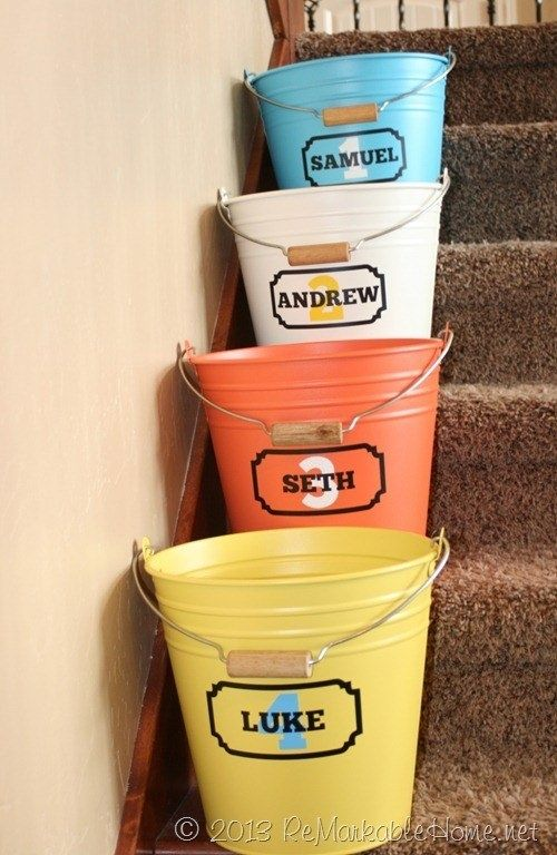 """Add Some """"crap Buckets"""" to Your Stairway to Keep Track of All the Stray Things Family Members Leave around the House"""