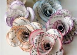 paper flower out of old book pages.