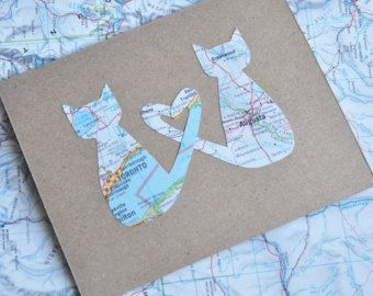Cat Valentine Card Long Distance Relationship Map Card Love Cats Greeting Card Custom