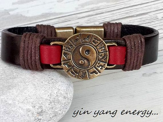 Yin Yang Leather Bracelet  Handmade JewerllyWedding by tovvanda