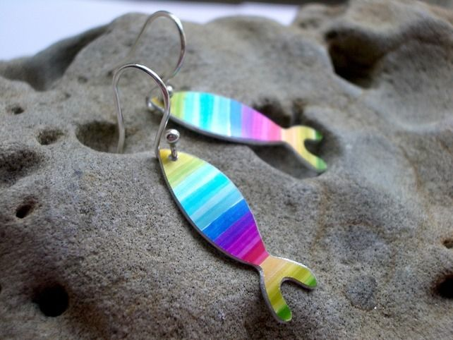 Fish earrings in rainbow colours £16.00