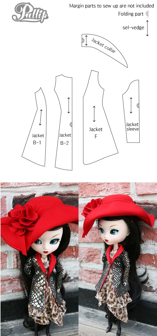 Pullip Jacket Pattern || Pullip & Blythe clothes will fit MH dolls, and this is an awesome jacket.