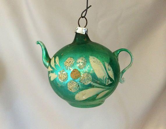 1940s German Vintage Figural Glass Teapot Ornaments Vintage Holiday Decor Vintage Christmas Ornaments Antique Christmas Ornaments