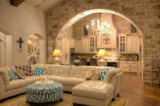 Stone arch into kitchen...love, love, love this! - Click image to find more Home Decor Pinterest pins