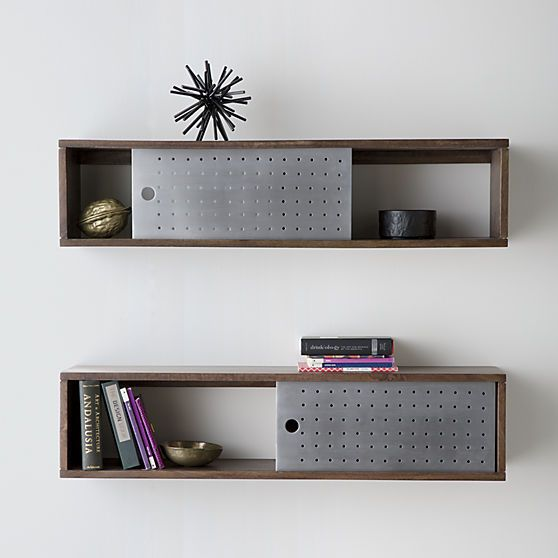 dark mango wood shelf slides single perforated aluminum on wall mount bookshelf id=79052