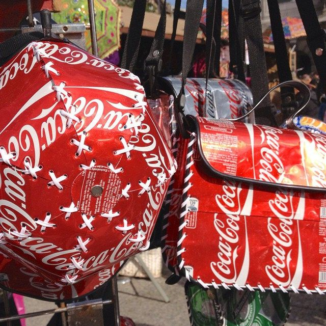 #DT #ThinkDo Hat & bag made from recycled coke cans. What ...