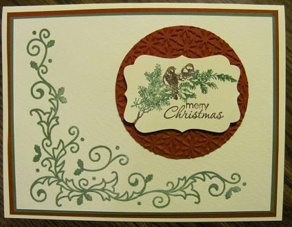 This is the first time to use this letterpress plate from the Holiday Mini, page 21, #124097, $7.95. I used a Garden Green CRAFT stampin' spot for the plate, then ran it through the Big Shot. I did this on watercolor paper, page 181, #122959, $4.95. The letterpress plates leave a debossed impression and work best with craft ink or versamark ink on textured cardstock or watercolor paper. The card base is Very Vanilla with layers of Cherry Cobbler and Garden Green. The punched image is from...