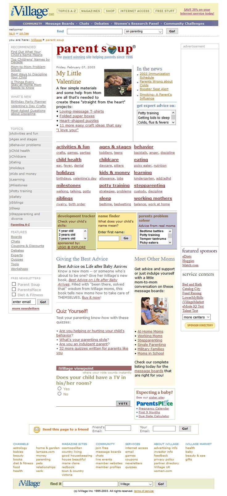 iVillage website in 2003