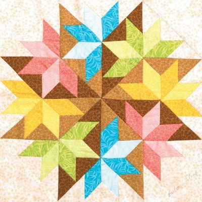 """Can't help it, I just like this one. Reminds me of """"Barn Swallows"""" block. """"Colorful Star Tricks"""" - by Barbara, Three Mennonite Quilting Sisters"""
