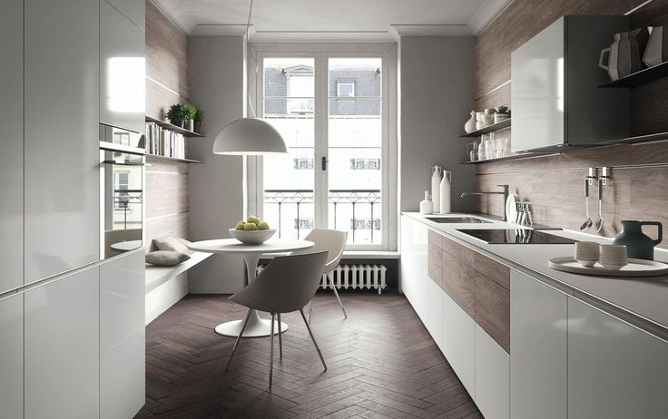 Valcucine, kitchen Forma Mentis with functional white fronts