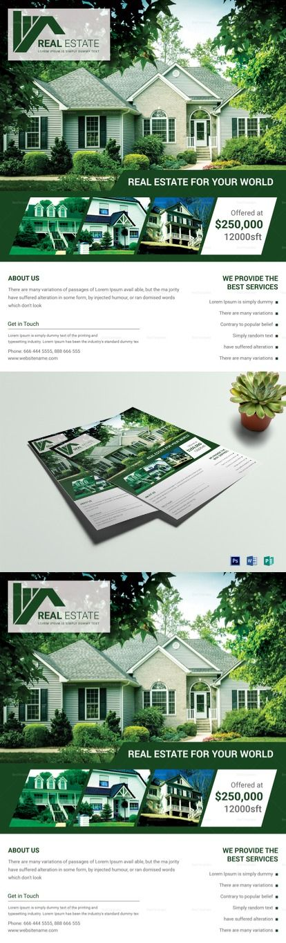 Real Estate Agent Flyer Template - Formats Included : MS Word, Photoshop, Publisher  - File Size : 8.5x11 Inchs