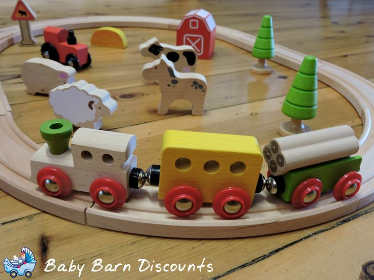 25  piece  farm train set comes complete with a range of  track, trains, trees, signs, and composting on the farm. Product Dimensions:60x44x7.5cm