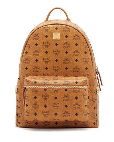 MCM STARK SIDE STUD MEDIUM BACKPACK. #mcm #bags #leather #canvas #backpacks #