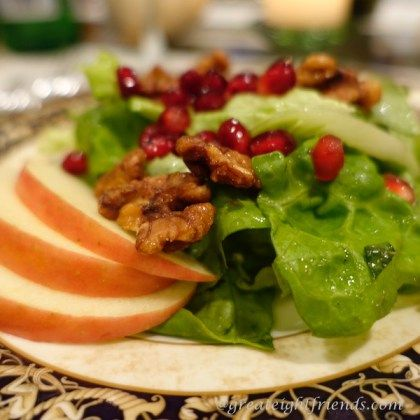 Pomegranate, Apple, Walnut Salad! So beautiful and delicious! | Salad ...