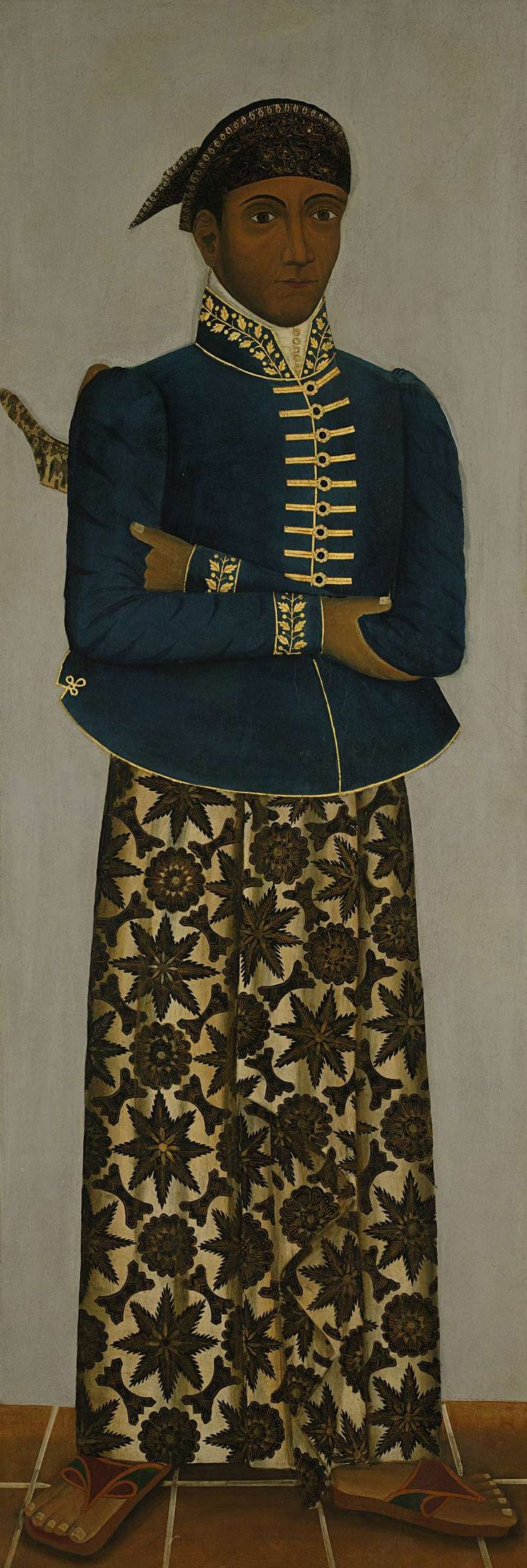 Indonesia, Java, Five Javanese court officials, Anonymous, oil painting, gilding, c. 1820 - c. 1870