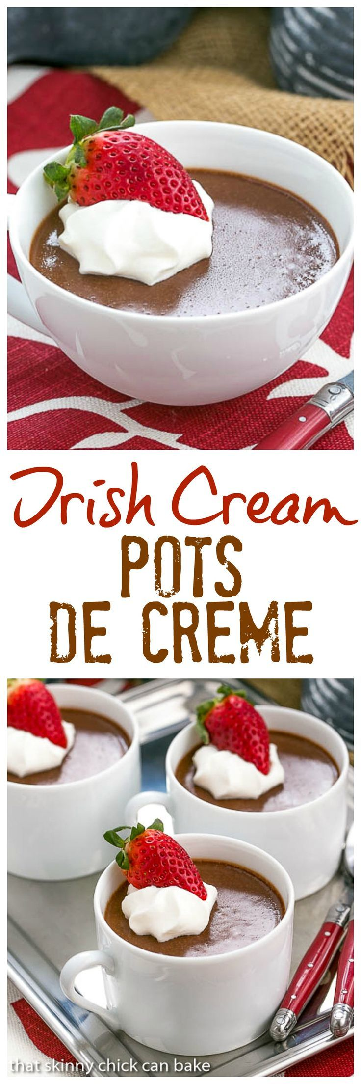 Irish Cream Pots de Creme | Rich and silky pots de creme flavored with Irish cream @lizzydo