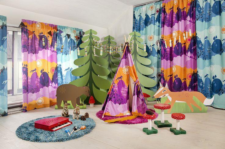 Vallila & Mimmit collection: Vaskimetsä, blue & purple curtain and tipi. Design Meri Mort & Vallila Design Studio