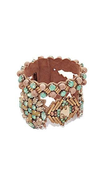 Get this DEEPA GURNANI's bracelet now! Click for more details. Worldwide shipping. Deepa Gurnani Deepa By Deepa Gurnani Lamia Bracelet: A wide leather Deepa Gurnani bracelet with intricate beading. Lobster-claw clasp. Brass. Imported, India. Measurements Width: 2in / 5cm Length: 8.25in / 21cm (brazalete, brazal, brazalete, brazales, bracelet, cuff, bangle, arm harness, armreifen, brazalete, bracelet, braccialetto, brazaletes)