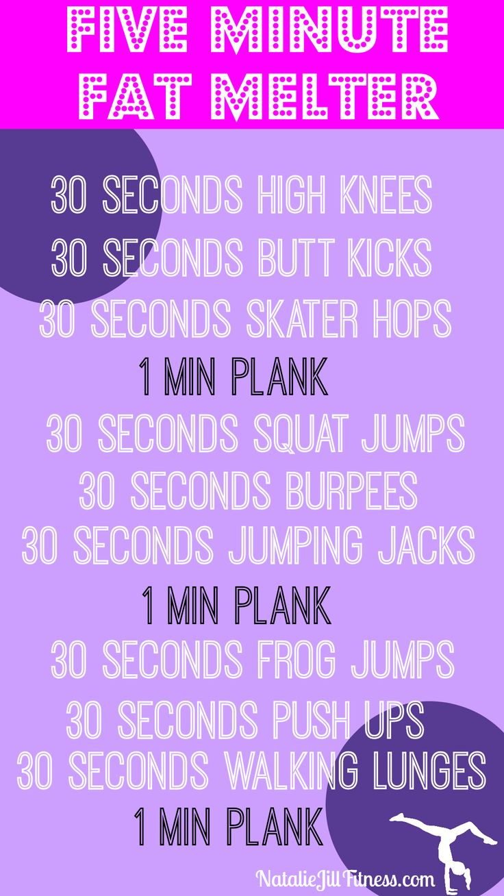 FIVE MINUTE FAT MELTER! Pick 2 of the above groups of workouts and get to work! Start with 5 minutes and then add the third set of workouts when you are ready! REMEMBER- changing your body is all about progression!