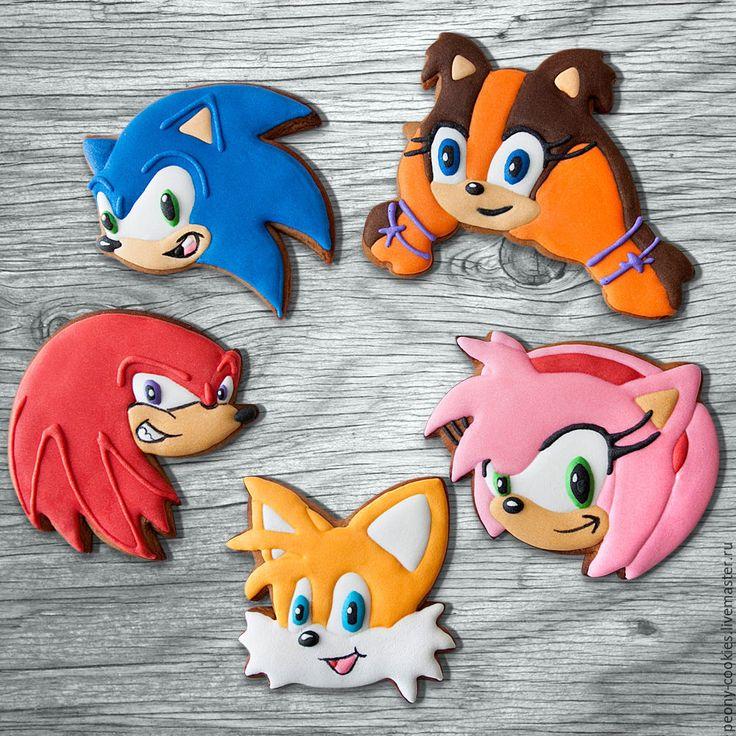 Купить Пряники персонажи мультфильма Соник бум - комбинированный, детский день рождения, сладкий стол, sonic, sonic hedgegog, amy sonic, sega, sonic cookies