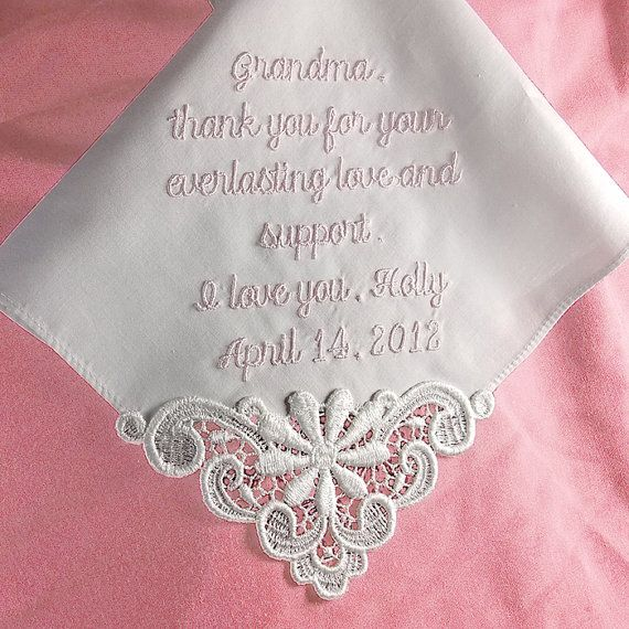 IVORY Gift for Grandmother of the Bride Custom Handkerchief Embroidered Personalized Hankie Cotton