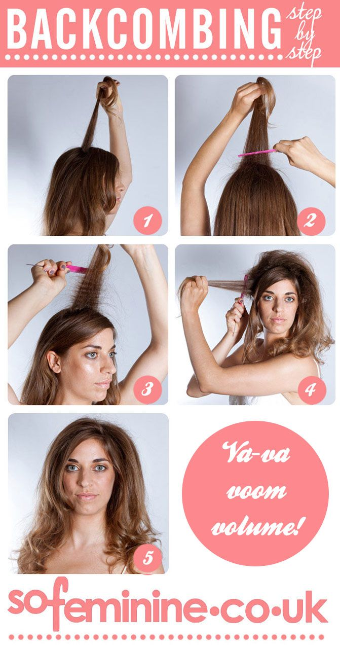 1. Brush hair then take a small section from the crown of the head. 2. Using a tail comb brush down the length of the hair towards the roots. 3. Continue to comb down ...