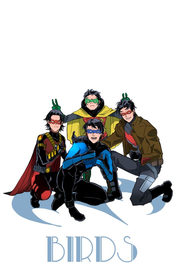 Batboys. Nightwing, Red Hood, Red Robin, and Robin.