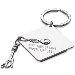 personalized graduation cap engraved key ring at limogesjewelry com