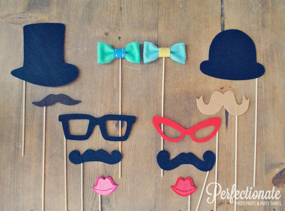 12 Ultimate Felt Photo Props // Wedding Photo Booth Props // Carnival Theme // Assorted Props // Bow Ties, Mustaches, Glasses, Hats on Etsy, $48.00