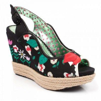 Irregular choice Schuhe, LuLu Belle, black floral print wedge sandals sleehak sandalen zwart bloemen print