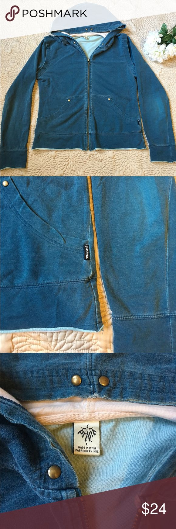 prAna Zip Up Hoodie in Blue Wash prAna Zip Up Hoodie Blue Wash   Women's Size Large Pre-owned condition; please refer to the pictures. No noticeable flaws.   Features:  🔹Gold-bronze stud details throughout 🔹Unstitched hems at the hood and shoulders give this piece a unique effortless look Prana Sweaters