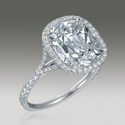 White 5 carat Cushion Cut Diamond Ring with Platinum Pave Setting