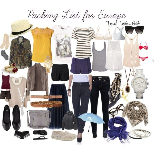 Travel Clothes for Europe and Packing List by vanessa-ashley-yates, via Polyvore