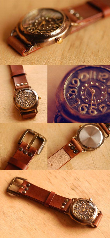 Orologi vintage. Pelle Band / / artigianato Watch di metaletlinnen