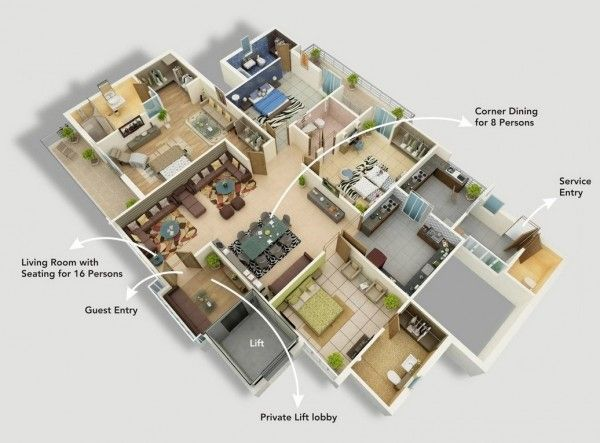 50 Best 4 Bedroom Apartment House Plans Images On