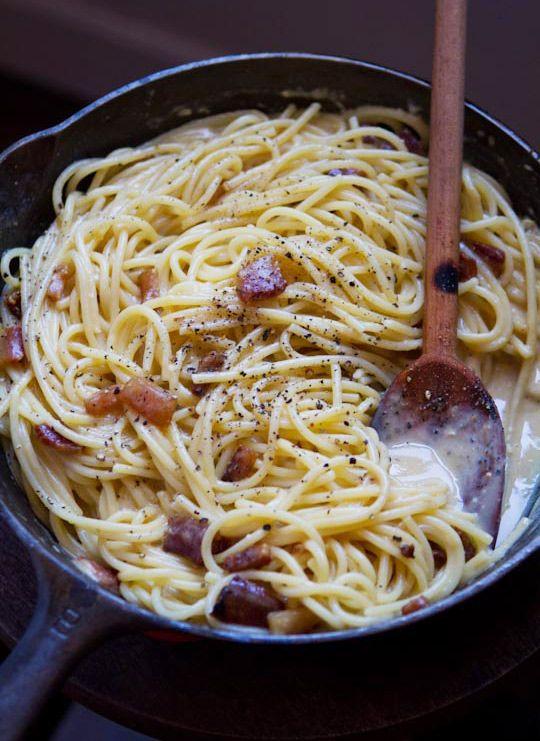 Pasta alla Carbonara  - Originated in the Apennine hills of central Italy. The authentic recipe lists simply pasta, guanciale, eggs, pecorino, and black pepper. No pancetta, cream, onions or garlic in the original recipe.