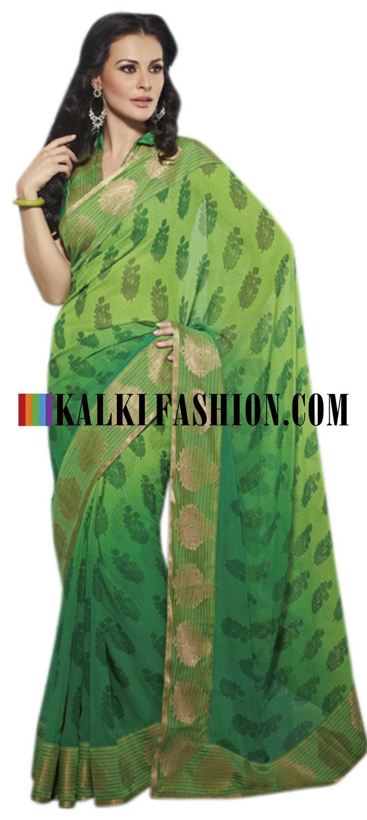 Buy Online from the link below. We ship worldwide (Free Shipping over US$100) http://www.kalkifashion.com/green-printed-saree-with-banarasi-lace-border.html Green printed saree with banarasi lace border