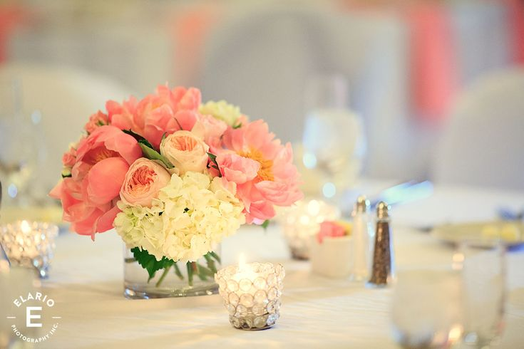 coral and peach flowers, hydrangea, silver beaded decor #peony #gardenroses #fleurtaciousdesigns -Elario Photography