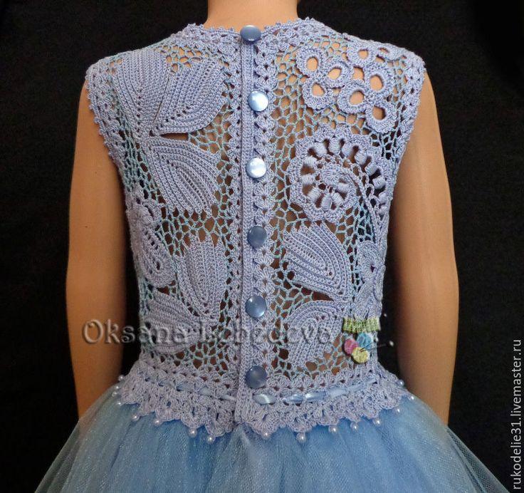 Купить Платье вязаное крючком для девочки Голубая Лагуна - платье ирландское кружево