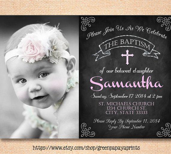 Invitación de bautizo, niña