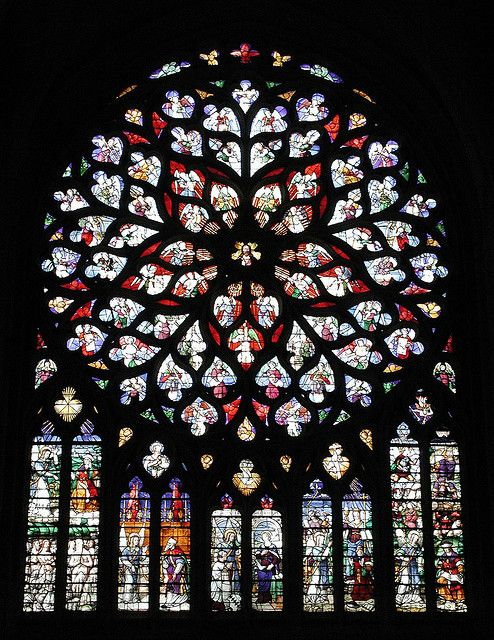 "enclave interior ""The Rose WIndow depicted is a symbol of what all French Gothic Cathedrals embraced: stained glass depicting scences from the scripture. """