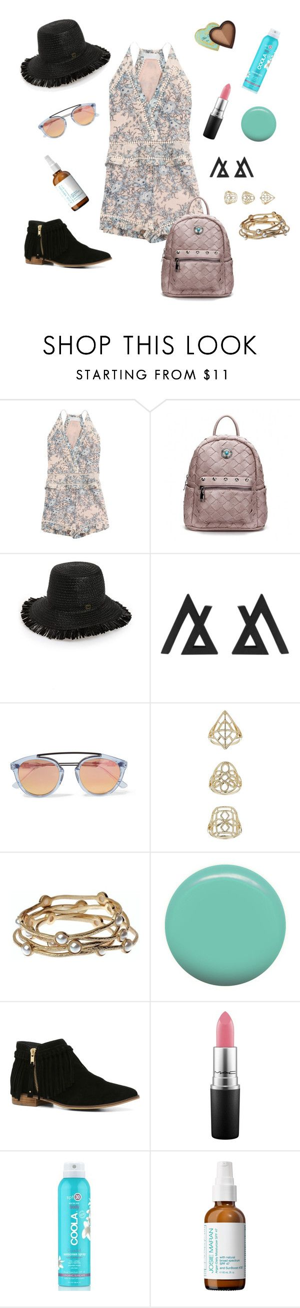 """How to Style Your Playsuit"" by fashion-mama-aquarius on Polyvore featuring Zimmermann, Eric Javits, Westward Leaning, Topshop, Majique, Jin Soon, ALDO, MAC Cosmetics, COOLA Suncare and Josie Maran"