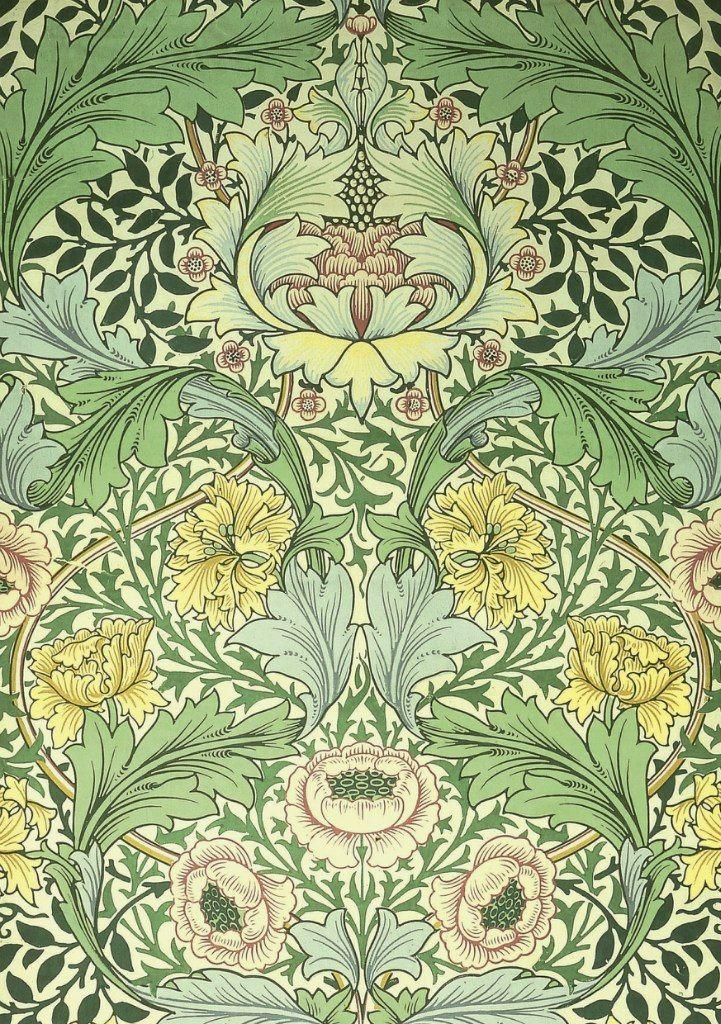 William Morris, Norwich wallpaper. Block-printed paper (1889)