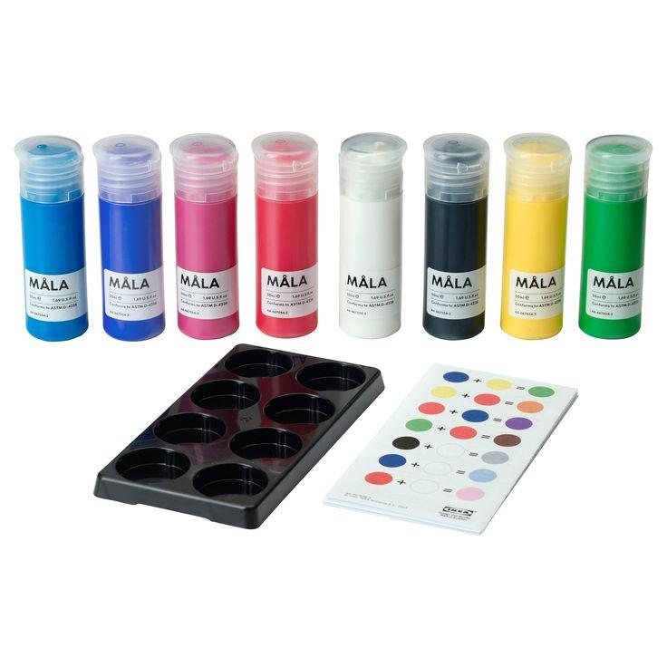 IKEA - MÅLA, Farba,  , , Dostępne z 8 buteleczkami w różnych kolorach. W komplecie paleta do mieszania kolorów i wzornik kolorów, aby dziecko mogło mieszać farby i tworzyć własne ekscytujące kolory.Gotowe mieszanki farb w żywych kolorach sprawiają, że dzieci mogą od razu zacząć tworzyć swoje dzieła sztuki.Farba jest gotowa do użycia, ale można również rozcieńczyć ją wodą, aby uzyskać jaśniejszy efekt.Przepływ farby można łatwo kontrolować dzięki łatwym do wyciskania butelkom.