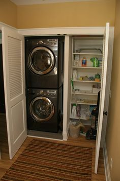 Laundry Closet: stacking front loaders to make the most of a small space.  maybe install a fold out table in the closet space or do to fold laundry on